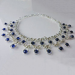 Sterling Silver and Sapphire Swarovski Crystal Necklace